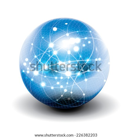 Digital cyber sphere. Vector. - stock vector