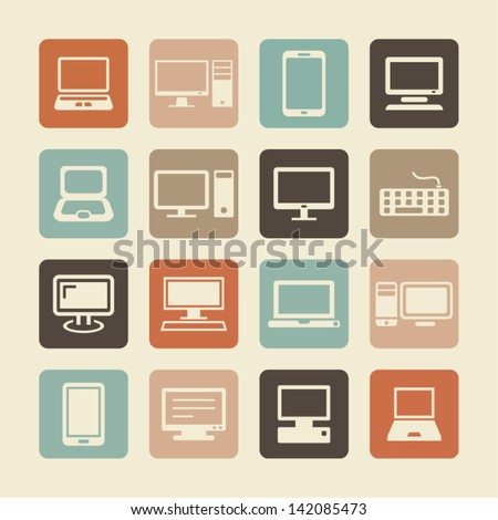 Digital devices. Computer, laptop and devices icons. - stock vector