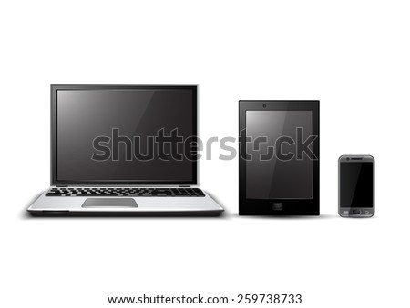 Digital devices set - stock vector