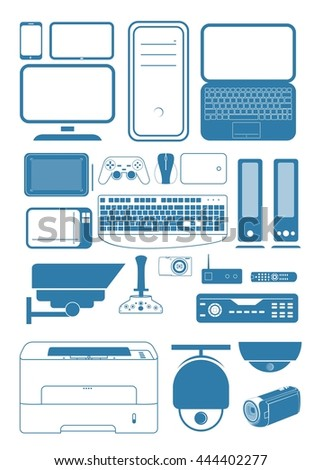Digital devices - set of 20+ items  - stock vector
