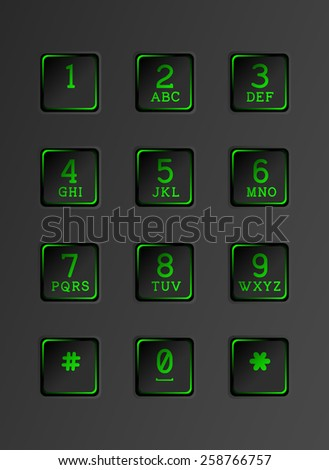Digital dial plate of security lock. Keyboard with neon lights. - stock vector