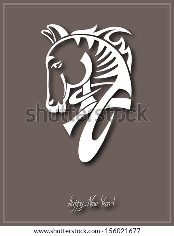 digital drawing of tribal head horse silhouette, symbol of 2014 year - stock vector