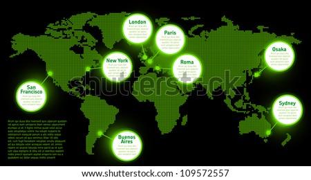 Digital Earth map concept - stock vector