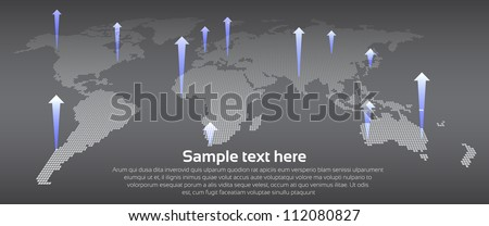 Digital Earth map concept with arrows - stock vector