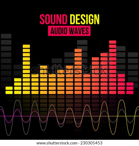Digital equalizer vector background with waves. Vector illustration for flyers, posters, banners - stock vector