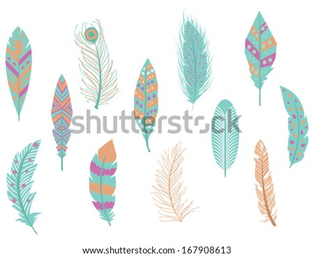 Digital Feathers Clipart in Vector  - stock vector