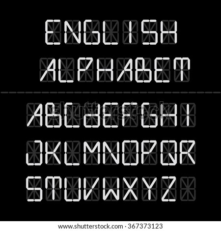 Digital font - English Alphabet. Vector set of letters. lettering collection. Technical type. - stock vector
