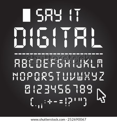 Digital font. Letters, numbers and punctuation - stock vector