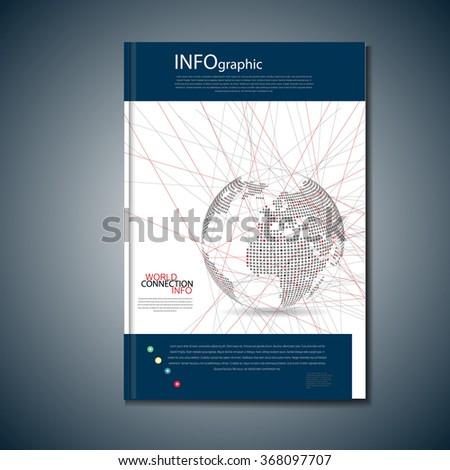 Digital globe vector, cover for brochure - stock vector