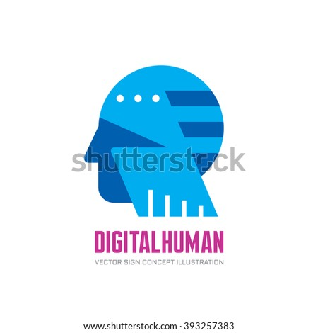 Digital human head vector logo concept illustration. Creative idea sign. Learning icon. People computer chip. Innovation technology symbol. Modern communication. Manager. - stock vector