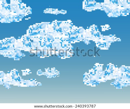 Digital illustration of a blue sky with clouds - abstract Vector - stock vector