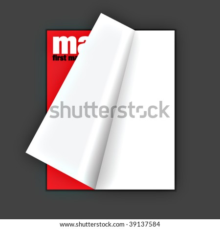 digital magazine with pageflip effect in vectors - stock vector