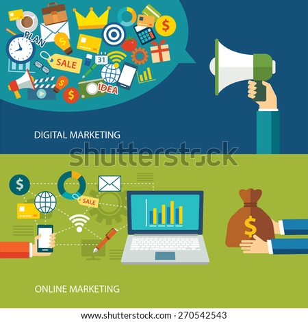 digital marketing and online marketing flat design - stock vector