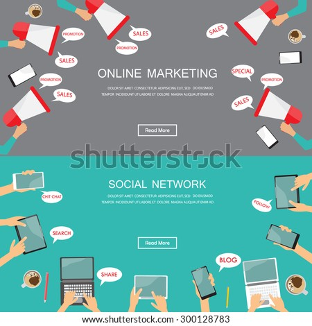 digital marketing and social media web site banner. flat design for infographics element and background. Can be used for one page website , brochure template, advertising. vector illustration  - stock vector