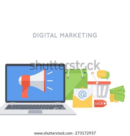 Digital marketing background. Advertisement  and promotion. Modern flat design template.  - stock vector