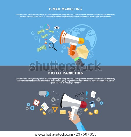 Digital marketing concept. Human hand holding megaphone surrounded by media icons. Flat design stylish megaphone with application icons - stock vector