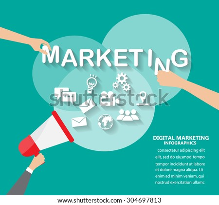 digital marketing. flat design for infographics element and background. Can be used for one page website , brochure template, advertising. vector illustration - stock vector