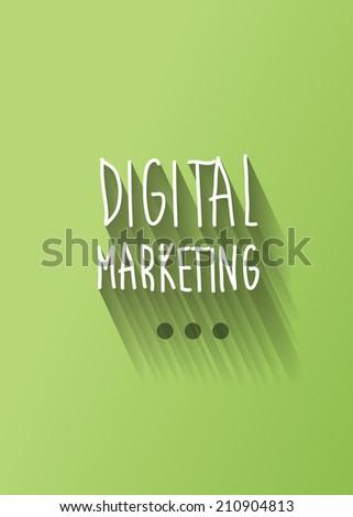digital marketing typo with shadow vector - stock vector
