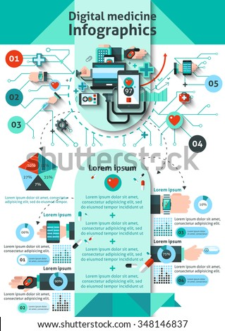 Digital medicine infographics set with mobile health monitoring symbols and charts vector illustration - stock vector