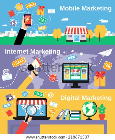 Digital mobile internet marketing line banners set isolated vector illustration - stock vector