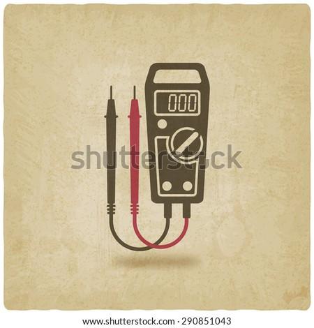 digital multimeter symbol old background - vector illustration. eps 10 - stock vector
