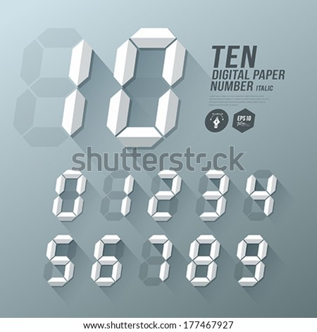 Digital Number italic paper and shadow design background, vector illustration - stock vector