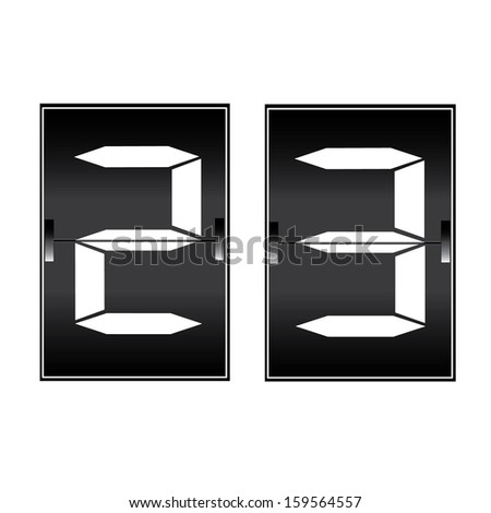 digital number 23 on a mechanical timetable - stock vector