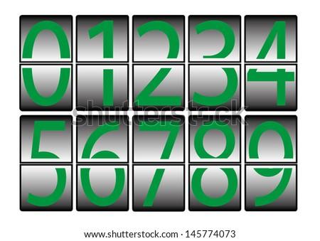 digital-numbers-0-9 - EPS 10 - stock vector