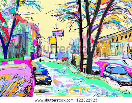 digital painting of winter landscape - stock vector