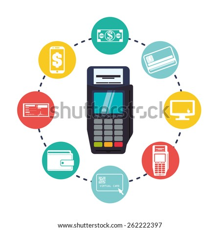 Digital payment design over white background, vector illustration. - stock vector