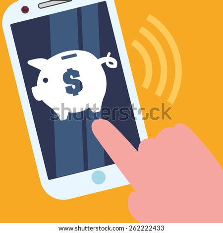 Digital payment design over yellow background, vector illustration. - stock vector