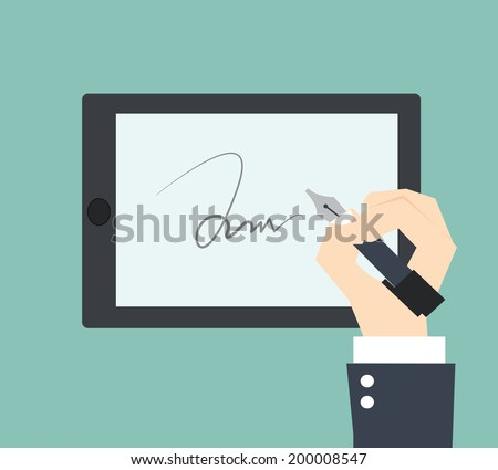 digital signature on sign pad - stock vector