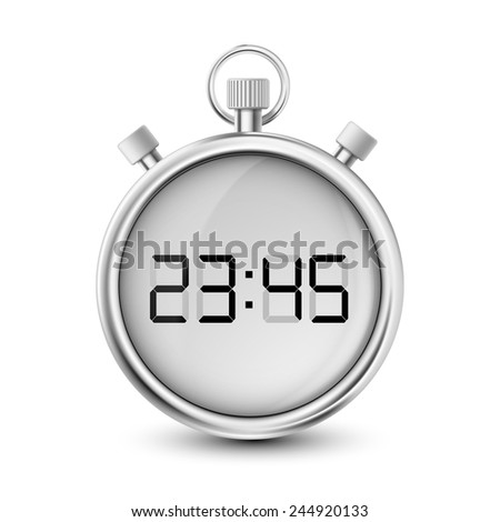 digital stopwatch isolated on white background - stock vector