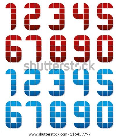 Digital style numbers, vector set. - stock vector
