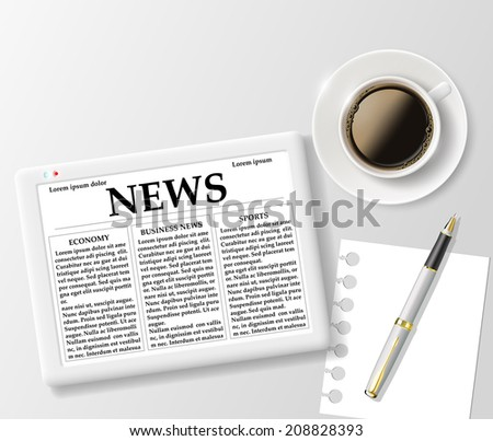 digital tablet and a cup of coffee on the table - stock vector
