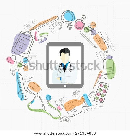 Digital tablet screen showing illustration of doctor and different medical objects on white background for Health and Medical concept.. - stock vector