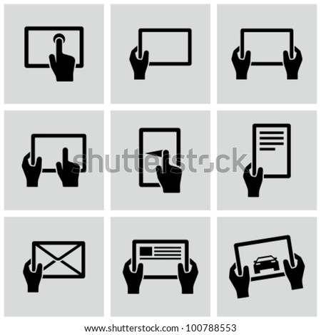 Digital tablets icons set. - stock vector