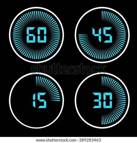 Digital Timer on a black background - stock vector