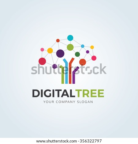 Digital Tree logo,Tree logo,Creative logo,Vector logo template. - stock vector