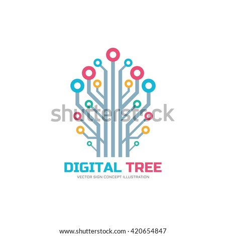 Digital tree - vector logo concept illustration in flat style. Computer network sign. Electronic design element.  - stock vector