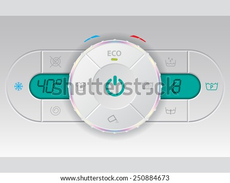 Digital wash machine control deck with twin lcd - stock vector