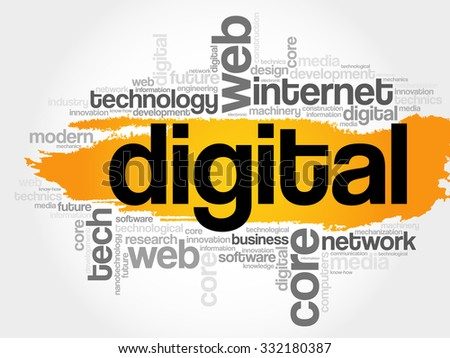 Digital word cloud, business concept - stock vector