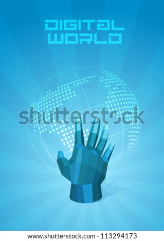 Digital World dotted map. Hand touches the globe. Future Technology Concept. Design Template of Presentation. Background abstract blue. Vector. Editable. - stock vector