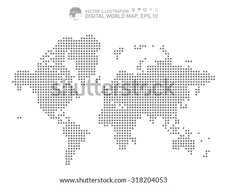 Digital world map, Dotted world map - stock vector