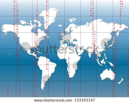 Digital World Map, EPS10 - stock vector