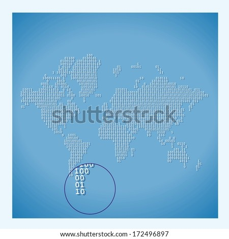 Digital World Map with binary code - stock vector