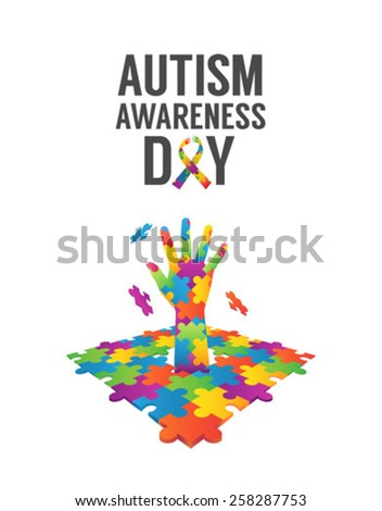 Digitally generated Autism awareness design vector - stock vector