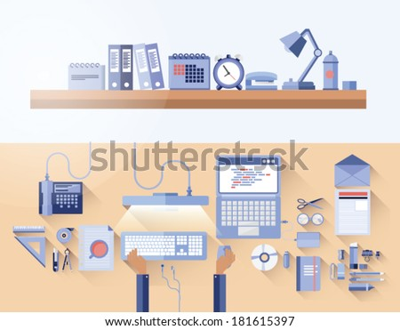 Digitally generated overhead of messy desk in office - stock vector