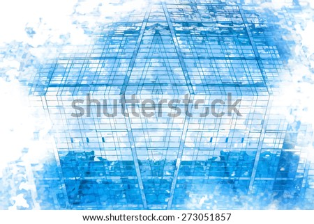 digitally transformed photo of modern office building. Business background - stock vector