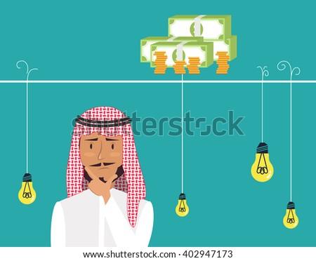 Dilemma of businessman. Thinking arab man with idea bulbs. Eps 8 - stock vector